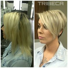 It's time for a Change #beforeandafter #TribecaColorSalon on Kennedy Blvd. #blonding #shortwomenshair #