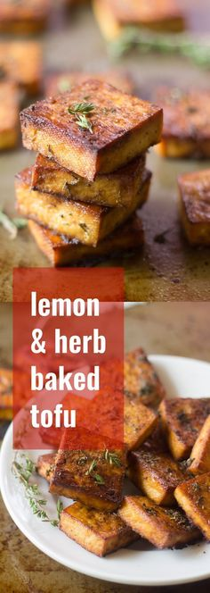 This flavor-packed baked tofu is soaked in a marinade of zesty lemon juice, zippy garlic, and savory herbs, then baked to perfection. It's perfect stuffed in a sandwich or sprinkled on salad! Lemon and herb baked tofu Tofu Dishes, Vegan Dishes, Whole Food Recipes, Cooking Recipes, Cooking Tofu, Savory Herb, Baked Tofu, Grilled Tofu, Marinated Tofu