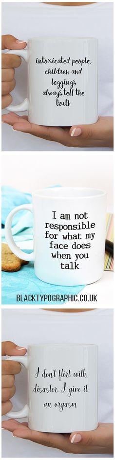 Funny Mugs made in the UK.  Black and White funny coffee mugs for her.  coffee mugs, funny mugs, mugs with quotes, mugs with funny sayings #mugs #coffeemugs #funnymugs #giftsforher #teamugs #mugswithsayings
