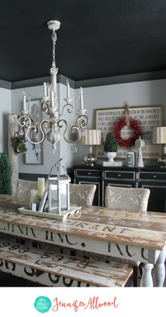Painted Black Ceiling in the Dining Room | Ceiling Painting Tips | Magic Brush | Painted Ceiling Ideas | Tricorn Black Sherwin Williams