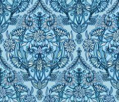 Hand Drawn Botanical Moroccan in Blue fabric by micklyn on Spoonflower - custom fabric