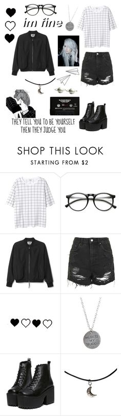 """""""Black and white #7"""" by ellafourni3r ❤ liked on Polyvore featuring Monki, INDIE HAIR, Topshop, Religion Clothing and CASSETTE"""