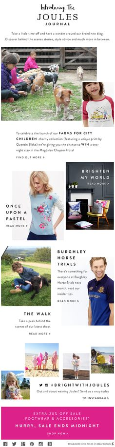 Joules Journal email newsletter