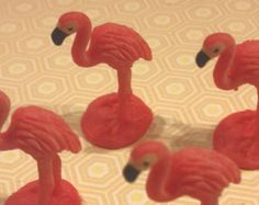 4 Very Tiny Miniature Flamingos Small Birds Pink Terrarium Supply Diorama