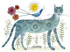 A Blue Cat #Кошки #Графика #Картинки