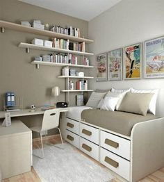Wall mounted shelves bed with drawers storage ideas for small bedrooms