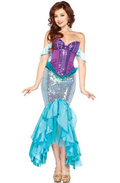 ariel costume for adults  | Disney Princess Deluxe Ariel Adult Costume - Pure Costumes