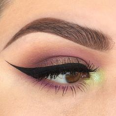 muted bronze lid, purple smokey, lime inner corner & winged liner - smokey eye makeup (@kaitlyn_nguy)