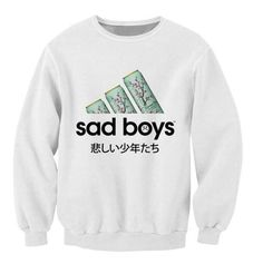 Sad Boys Sweatshirt favorite green tea Crazy Sweats Women Men Japanese characters Jumper Fashion Clothing casual Tops Outfits - Five Points Supply Co.