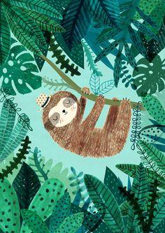 Sloth....Giclee print of an original illustration by DrawnByRebeccaJones on Etsy https://www.etsy.com/listing/270882760/slothgiclee-print-of-an-original