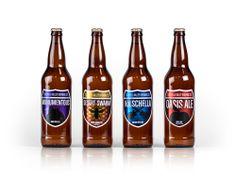 Coachella Valley Brewing Co beer bottle label design. Monumentous IPA, Desert Swarm, Kolschella and Oasis Ale.