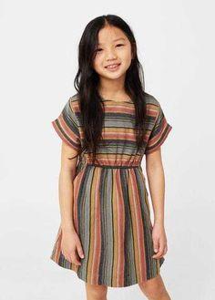 Stripe Textured Dress | Mango Kids