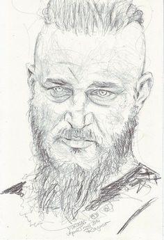 Ragnar Vikings 2014 Acter Travis Fimmel  Pencildrawing  http://aprilturner.jimdo.com/