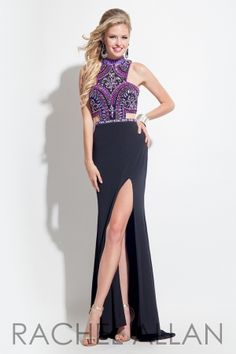 Rachel Allan Prom 2016 - Fitted jersey gown with a high neckline and multi color stones