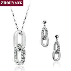 Высочайшее Качество ZYS043 Двухместный Раундов Белый Позолоченные Ювелирные Изделия Серьги Ожерелья Rhinestone Сделано с Австрийскими Кристаллами