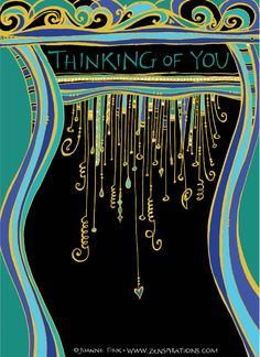 I created this Zenspirations Dangle as a greeting card. The original was drawn using Sakura's Pigma Micron 01 on Strathmore 400 series drawing paper. I scanned the art and then colorized it in PhotoShop... I'm having fun experimenting with gold Dangles on a black background.