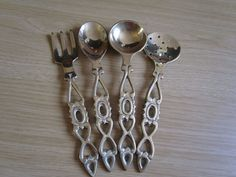 4x Vintage/Antique Polished Brass Heart Design Conch spoon Ladle Fork Sieve set