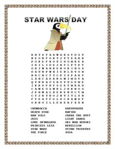 "This FUN Word Search is the perfect Morning Work Search for May 4 considered a holiday by Star Wars fans to celebrate the film. ""May the Fourth be with you"""