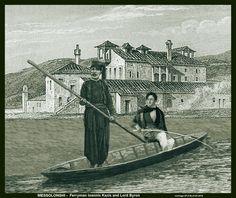 """Ο Ιωάννης Καζής, βαρκάρης του Λόρδου BYRON, σε μια """"εικονική"""" αποτύπωση, στο Μεσολόγγι. Οταν πέθανε ο BYRON, ο Καζής ήταν 20 χρόνων, ενώ στη φωτογραφία του 1884 - μόνος του στη γαϊτα - ήταν 80 χρόνων. ΦΩΤΟ-ΣΥΝΘΕΣΗ και κείμενο: Απ.Σ.Μπλίκας"""