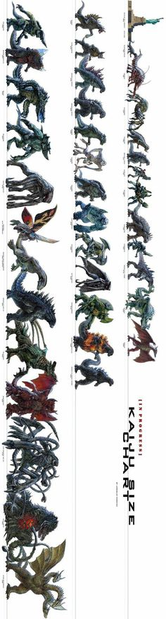 Kaiju, Ultimate Size Chart - Relatively Interesting Kaiju Size Chart (updated)<br> The fascination of Godzilla, King Kong and other fictional monsters created, is one to behold. The action packed sorcery of… Monster Design, Monster Art, Monster Hunter, King Kong, Fantasy Creatures, Mythical Creatures, Kaiju Size Chart, Creature Concept, Geek Culture