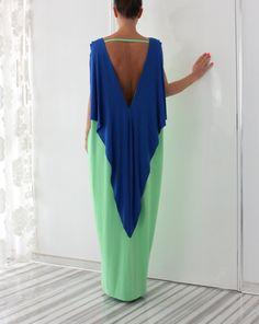 Kiwi doux vert et bleu royal élégant Open par cherryblossomsdress