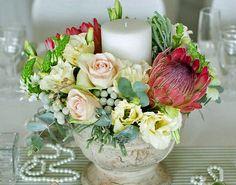 Protea Wedding, Wedding Decorations, Table Decorations, Colour Schemes, Vintage Pink, Centerpieces, Floral Wreath, Candles, Wreaths