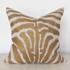 Gold Zebra Pillow – www.SummerHouseStyle.com