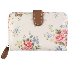 Cath Kidston Cath Kidson Pinny Flowers Folded Zip Wallet, Stone (46 BAM) ❤ liked on Polyvore featuring bags, wallets, coin wallet, clasp wallet, floral wallet, cath kidston and fold-over crossbody bags