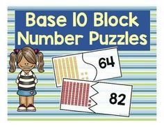 This is a set of 20 interlocking puzzle pairs that ask students to count base ten blocks and match the answer to the correct numeral. Students will count base 10 blocks from teens up to number 98.  This is great activity for independent practice or small group support.