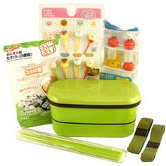 Japan Centre Bento y accesorios Set - Green Japanese School Supplies, Cooking Ingredients, Japanese Food, Bento, Kitchenware, Bakery, Green, Accessories, Glamping