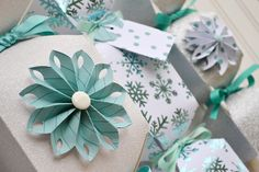 Holiday Candy Boxes by Aly Dosdall with darling rosette accent using the Rosette Punch from We R Memory Keepers #templatestudio #diyparty #wrmk