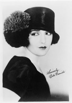 1920's ....... Sincerly, Bebe Daniels ..... beautiful ...... Gorgeous hat with pom-poms!!!