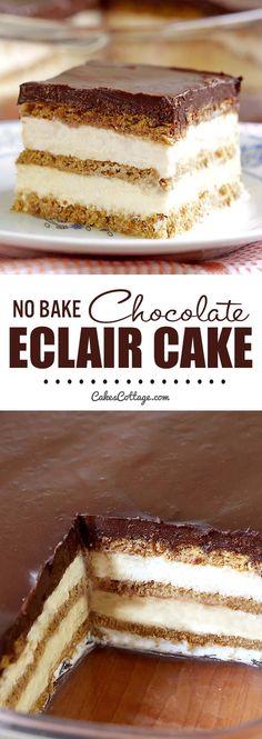 eclair cake with chocolate ganache \ eclair cake . eclair cake no bake . eclair cake no bake graham crackers . eclair cake with chocolate ganache . eclair cake no bake easy desserts Kosher Desserts, Desserts Menu, Indian Desserts, Just Desserts, Delicious Desserts, Indian Sweets, Rhubarb Desserts, Baking Desserts, Cake Baking