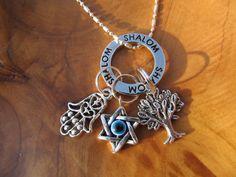 SHALOM - Peace and Protection Necklace with Hamsa, Tree of Life and Chai with Evil Eye- Judaica, Jewish, Hanukah, Chanukah, Chai. $21.00, via Etsy.
