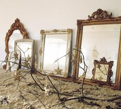 love the mirrors..would look great on a shelf or mantle!