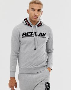 Replay co-ord flocked logo taped hoodie in light grey marl at ASOS. Winter T Shirts, Henleys, Fashion Illustration Sketches, Co Ord, Polar Fleece, Replay, Parka, Sportswear, Asos