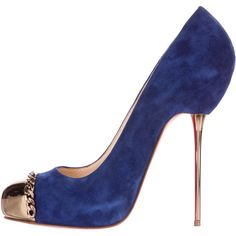Pre-owned Christian Louboutin Metalipp 120 Cap-Toe Pumps ($575) ❤ liked on Polyvore featuring shoes, pumps, blue, blue pumps, high heel stilettos, heels stilettos, blue shoes and christian louboutin shoes