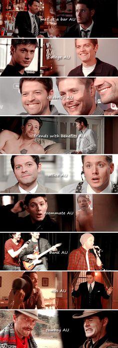 Dean and Castiel: AU edition #spn #destiel