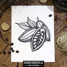 "Шешина Екатерина Арт графика ""Какао бобы"" . #Шешина_Екатерина #артграфика #графика #design #doodle #арт #sheshina_ekaterina #art #sketch #draw #artwork #drawing #blackwork #creation #illustration #botanical #botanic #какао #кофе #сасао #coffee"