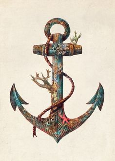 Displate Poster Lost at Sea  anchor #nautical #sea #ocean #starfish #coral