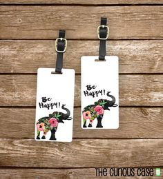 Personalized Luggage Tags Be Happy Floral by CuriousCaseGifts
