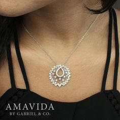 Gabriel & Co. - Complete your look this holiday with this elegant 18k White Gold Diamond Necklace.