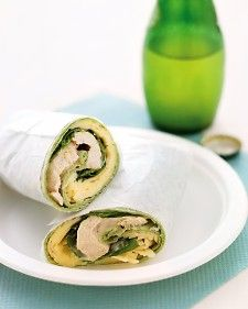 Chicken Salad and Havarti Cheese Wrap A flavorful dressing of mayonnaise, Dijon mustard, shallot, and thyme complements thin slices of poached chicken breast and creamy Havarti cheese. These lunch wraps can be made a day ahead of time Wrap Recipes, Lunch Recipes, Burrito Recipes, Entree Recipes, Turkey Recipes, Delicious Recipes, Salad Recipes, Dinner Recipes, Empanadas