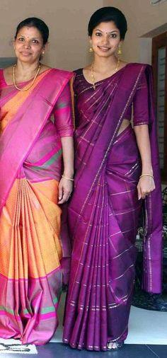 That purple saree Indian Bridal Lehenga, Indian Beauty Saree, Indian Sarees, Indian Dresses, Indian Outfits, Latest Indian Fashion Trends, Purple Saree, Silk Saree Kanchipuram, Modern Saree