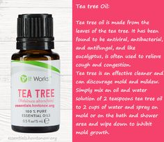 Tea tree essential oil cleaner can discourage mold and mildew. Simply mix an oil and water solution of 2 teaspoons tea tree oil to 2 cups of water and spray on mold or on the bath and shower area and wipe down to inhibit mold growth. essentials.howtonow.org