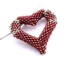 Beaded Heart Pendant in Red and Silver  by:-B_B_Beads