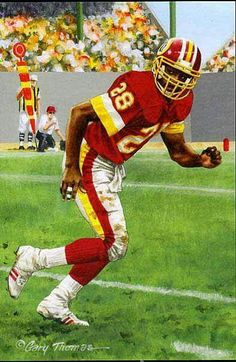 Darrell Green, Washington by Gary Thomas for 2008 Goal Line art card. Redskins Fans, Redskins Football, Football Art, Vintage Football, Football Players, Redskins Players, College Football, Football Helmets, Redskins Pictures