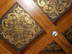 by Rosana Curatolo Design Modello - Finish Gold Paste Leaf Woodgraining on Beams