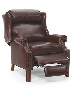 brown leather oversized wingback recliner by hancock moore