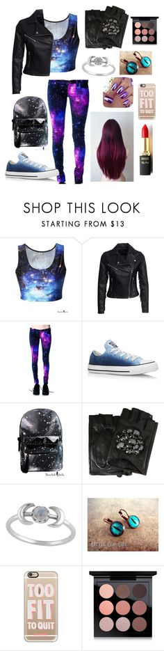 """""""lost in my galaxy"""" by winternightfrostbite ❤ liked on Polyvore featuring New Look, Converse, Karl Lagerfeld, L'Oréal Paris, Casetify and MAC Cosmetics"""